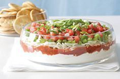 Festive Layered Dip tub g) Philadelphia Cream Cheese Spread cup sour cream cup Miracle Whip Original Spread 1 cup salsa 2 cups Kraft Mozzarella Shredded Cheese 2 tomatoes, chopped 1 green pepper, finely chopped 2 green onions, chopped) dip recipes Cream Cheese Spinach, Cream Cheese Dips, Cheese Spread, Spinach Dip, Kraft Recipes, Dip Recipes, Cooking Recipes, Recipies, What's Cooking