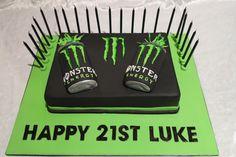 Monster Energy Cake Top Tier Celebration Cakes
