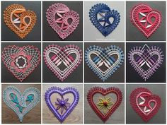 Bobbin Lace, Cards, Bobbin Lacemaking, Needlepoint, Leaves, Hearts, Lace Heart, Bobbin Lace Patterns, Lace Jewelry