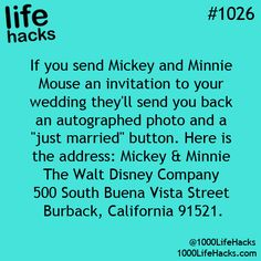 Top 5 Wedding Life Hacks | #Disney lovers and scrap bookers, don't pass up the chance to get an autographed photo and just married button from Mickey and Minnie mouse. Imagine looking at this years later with your children and grandchildren.