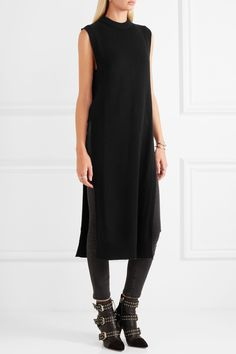 T by Alexander Wang | Split-side wool and cashmere-blend midi dress…