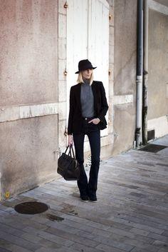 Black blazer and felted hat