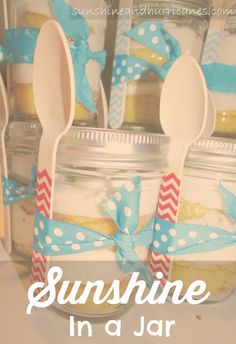 Fun and charming way to spread the sunshine any time of the year! This simple and delicious Sunshine cake is a huge crowd pleaser and so easy to make as a baby or bridal shower favor, teacher gift, or a just because! The darling packaging, in a mason jar, along with the adorable chevron spoons, are almost too pretty to eat! Sunshine In A Jar