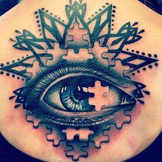 Eye tattoo jigsaw tattoo back tattoo feminine tattoo
