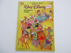 Vintage Walt Disney Springtime Parade Coloring Book 1985 Golden Unused
