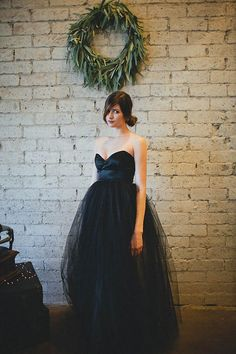 black tulle bridesmaid dress
