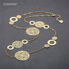 Fashion Statement Necklaces For Women Vintage Oval Hollow Round Flower Gold Silver Plated Long Necklace Accessories Jewelry gift #Affiliate