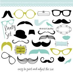Mustache Spectacles and Lips Kiss Digital Clipart от GraphicMarket