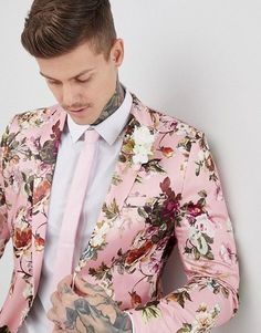 Shop ASOS EDITION wedding skinny suit jacket in blush floral sateen print at ASOS. Black Suit Wedding, Wedding Men, Wedding Suits, Wedding Attire, Wedding Things, Wedding Ideas, Pink Prom Suit, Pink Suit, Suit Combinations