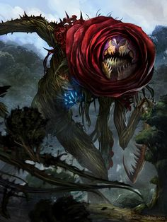 Artist: Rudy Siswanto aka crutz - Title: Rose Demon adv - Card: Murderous Rose Demon (Capturing)