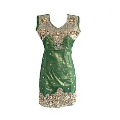 Hand Made Bottle Green Embellished With Golden Embroidery by Jywal