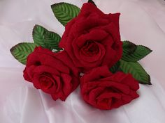 Set of three dark red roses - handmade from sheets of paper!