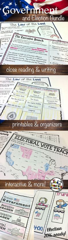 Understanding our Three Branches of Government and the Presidential Election Process can sometimes be tough for students. This bundled resource comes with over 200 pages, perfect for helping you capture students' interest as you study the Executive Branch, the Legislative Branch and the Judicial Branch of our government along with Voting, the 2016 Presidential Candidates and the Presidential Election Process. #tied2teaching