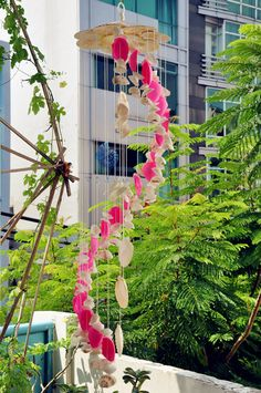 Pink and White Seashell Wind chimesNatural by SukaShop on Etsy