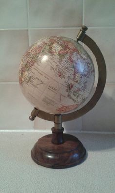 "Hand painted globe. Unique gifts for those who love to travel. Small 5"" globe"