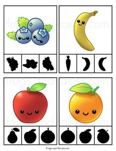 Fruit & Vegetable Shadow Match Puzzle and Clip Card Pack - Frogs and Fairies Preschool Learning Activities, Kindergarten Science, Creative Activities, Preschool Activities, Vegetable Crafts, Fruit Coloring Pages, Fruits For Kids, Printable Puzzles, Cute Fruit