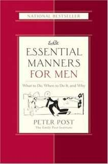"""Essential Manners for Men helps men make right decisions about what to do & say in every situation that counts. Peter Post, grandson of Emily Post, distills essential information men need for all important roles they play in life. Organized into 3 parts -- """"Daily Life,"""" """"Social Life"""" & """"On the Job"""" -- Essential Manners for Men resolves situations that can stump even the savviest. Peter Post's advice is sharp-witted & sensible, with tips, boxes & candid anecdotes about his own etiquette…"""