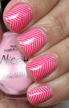 Pink and Red stripped chevron design