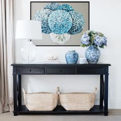 A console table is a must-have addition to any room because it anchors the space and keeps it feeling well-balanced, while also adding extra storage. Our newly introduced black Hamptons console table Console Table Behind Sofa, Console Table Styling, White Console Table, Hallway Console Table, Black Entry Table, Dark Table, Hamptons Style Decor, The Hamptons, Hallway Decorating