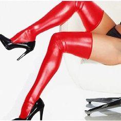 Mujer Sexy POR ENCIMA DE LA RODILLA látex MONO CATSUIT MEDIAS + Tangas rock glam