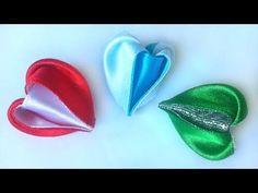 Новый лепесток канзаши Сердце из атласных лент мастер класс. New kanzashi petal Heart satin ribbons - YouTube