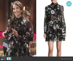 Lily's floral long sleeved dress on The Young and the Restless.  Outfit Details: https://wornontv.net/66521/ #TheYoungandtheRestless