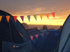bunting for tents - also stops people from camping in your seating area at festivals! Put the bunting waist height as well as high-up!!