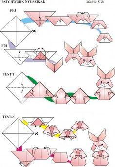 Osterhasenfrauen falten aus vier kleinen quadratischen Papieren - von Pinner gepinnt, da mir der Zugang zur ungarischen Seite versperrt war ...