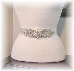 Ivory Crystal Rhinestone and Pearl Beaded Bridal Sash Belt Bride's Wedding Dress Sash Accessory on Etsy, $49.00