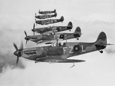Vintage Aircraft Photographic Print: A Squadron of British Supermarine Spitfire Fighters : - Ww2 Aircraft, Fighter Aircraft, Military Aircraft, Fighter Jets, Airplane Fighter, Ww2 Spitfire, Supermarine Spitfire, The Spitfires, Ww2 Planes