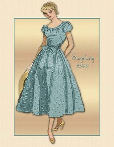 Simplicity 2898- Pattern dated 1949--Looks like a perfect dress for a summer wedding. Looks similar...