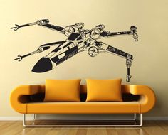 Star Wars X-Wing Fighter vinyl wall decal  wd305. $32.99, via Etsy.