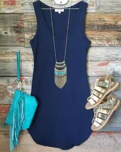Fun in the Sun Tank Dress: Navy