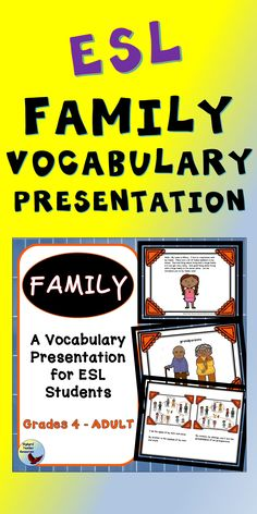 Teach your English Language Learners Family Vocabulary using this presentation. Use for your ESL Lessons and for teaching English to beginners. Esl Lessons, English Lessons, Learn English, English Verbs, English Vocabulary, English Grammar, Teaching Writing, Teaching English, Teaching Ideas