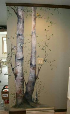 Garden wall mural ideas, love it! Faux Painting, Mural Painting, Mural Art, Wall Art, Tree Wall Murals, Tree Wall Painting, Birch Tree Mural, Birch Trees, Wall Paintings