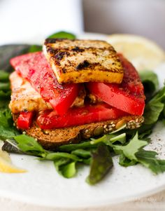 """Sandwiches: the spice of life. This Tomato Tofu """"Feta"""" Open-Face Sandwich is today's lunch."""