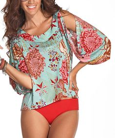 Take a look at this Turquoise & Red Rose Siena Cutout Cover-Up on zulily today!