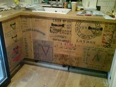 Wine crate storage at JZ Cool in Melno Park photo via Design Sponge · Kitchen cabinets made from recycled wood crates by Rupert Blanchard are eco friendly! Used Kitchen Cabinets, Kitchen Cabinet Doors, Kitchen Storage, Cabinet Fronts, Tv Storage, Record Storage, Reface Cabinets, Kitchen Drawers, Kitchen Units