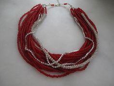 Chunky layered/Wedding/valentine/glass red bead/  by galladesign, $70.00