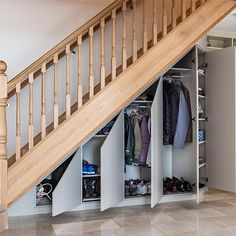 50 Amazing Under Stair Storage Solutions To Spruce Up Your Home - Engineering Discoveries Cabinet Under Stairs, Closet Under Stairs, Space Under Stairs, Basement Stairs, Basement Ceilings, Basement Ideas, Stairway Storage, Hallway Storage, Closet Storage