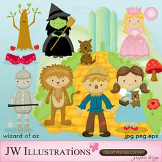 Wizard of Oz illustration clipart by JW Illustrations