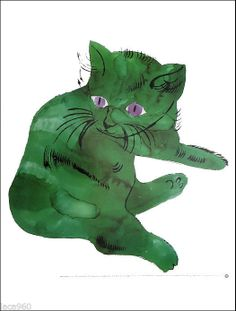 Andy WARHOL Green Cat (1956) Pop Art Poster Print More Pins Like This At FOSTERGINGER @ Pinterest