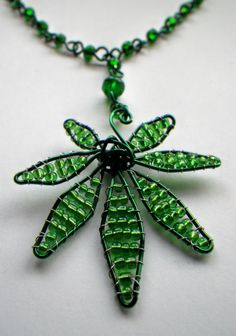 Marijuana Beaded Wire Craft Necklace by CassieVision on Etsy, $25.00
