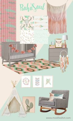 Modern spin on a boho baby girl nursery! Love the hippie/flower child vibe and soft mint and coral colors! Dream catcher, feathers, cactus and teepee complete the look!