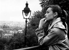 Audrey Hepburn in Paris during the filming her first musical, 'Funny Face' with Fred Astaire, released in 1957.