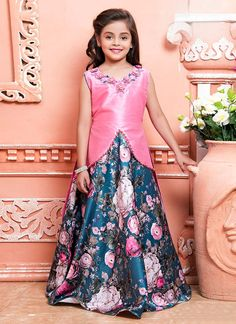 Buy Cream N Pink Art Silk Net Kids Gown, Sequins , Patch Work, girls gown Online ShoppingDigital Printed Art Silk Jacket Style Gown in Pink and Blue Kids Party Wear Dresses, Baby Girl Party Dresses, Dresses Kids Girl, Kids Dress Wear, Girls Frock Design, Kids Frocks Design, Baby Dress Design, Long Frocks For Girls, Gowns For Girls