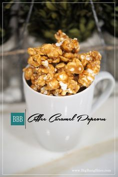 Coffee Caramel Popcorn | Big Bang Bites. | bigbangbites.com | Sweet caramel popcorn infused with espresso powder to tantalize every coffee lover.