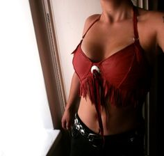 Red leather fringed cowgirl halter bikini top by ShandiHighway, €55.00