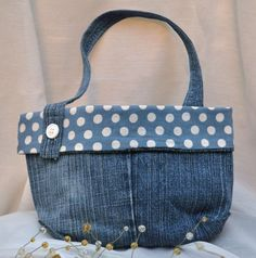 Child's Purse -Recycled Denim With Blue and White Polka Dot Cotton Print Fabric Lining Velcro Closure