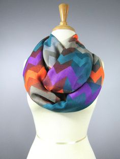 Chevron infinity scarf  orange purple teal  by ScarfObsession, $27.00